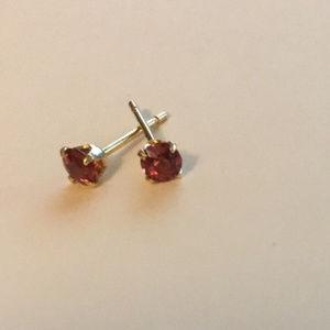 3MM Natural Ruby Stud Earrings 14K Gold Settings